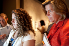 Brianna Pescok and Renee Hobbs visit the State of Deception exhibit at the United State Memorial Holocaust Museum in Washington, D.C.