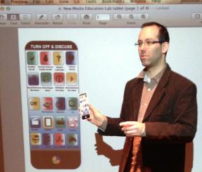 Jonathan Friesem demonstrates the new MEL app for media literacy